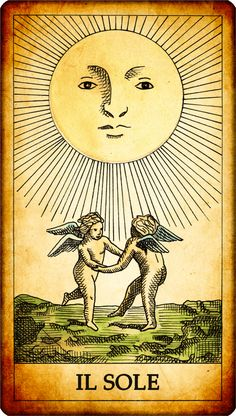 The Sun. N. 19. The Sun shines on two children. It's important that the Sun follows the Moon in the order of the tarots: the light returns after a period of darkness. We are facing a period of serenity and good humor. After difficult times (the darkness), everything turns out for the best. Reversed card: a negative situation slows to turn for the better. It is hard to draw in joy and happiness from the situations that are positive .