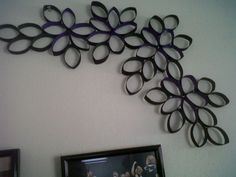 a decoration made out of toilet paper rolls and paint. Tutorial link I followed is attached