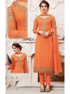 b793c76cf9 Vivacious Fire Orange Designer salwar Suit Work :-Shinning Fire Orange  combination with Golden Thread and zari work Embroidery salwar Suit Fabric  -Georgette ...