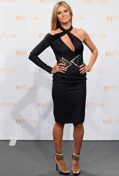 @roressclothes clothing ideas #women fashion Heidi Klum: Pinstripe Cutout Dress by Versace