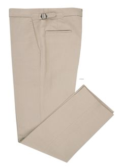 Luxire dress pants constructed in Linen Cotton Canvas:Tan Consists of extra long extended closure, front slant pockets, side metal adjusters and 2 rear pockets.