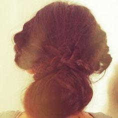 Bohemian hair up do with a bun and braids!