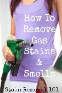 Tips for removing gas stains, smells and odors from clothing.
