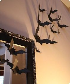 Halloween: wall of bats.   Bet this would work well in my living room with the high, high ceiling!