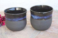 Black Clay Cup set of 2 handmade ceramic by ManuelaMarinoCeramic