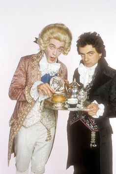 A Git and his minder. Hugh Laurie as Prince George and Rowan Atkinson as Mr. E. Blackadder in Blackadder the Third.