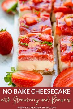 Strawberry and Rhubarb Cheesecake - The sweetness of those strawberries offsets the tartness of the rhubarb - complimenting each other perfectly. #nobakecheesecake #cheesecake #strawberry #rhubarb #dessert Rhubarb Cheesecake Recipe, Rhubarb Recipes, Cheesecake Bars, Strawberry Recipes, Cheesecake Recipes, Rhubarb Ideas, Rhubarb Desserts, Strawberry Cheesecake, Make Ahead Desserts