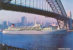 SS Southern Cross Shaw Savill Line 1961 2nd ship 4th sparks.  Southampton to Sydney via South Africa, Fiji, Tahiti and Panama canal.  Circumnavigated twice.