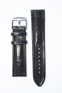 22mm Black Breitling Style Italian Leather Watchband with Leather Lining and S/S Buckle for only $9.95 You save: $16.00 (62%)