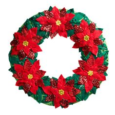 MerryStockings is carrying the Bucilla Felt Wreath Kit called Elegant Poinsettia. Perfect to hang on your front door!