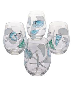 Hand-Painted Sea Finds Stemless Wine Glass - Set of Four #zulily #zulilyfinds