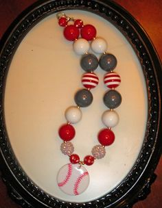 Girls Baseball Chunky Bubblegum Necklace by BaublesBlingBoutique, $18.00