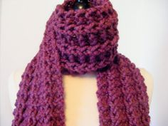 Hand Knit Scarf   Chunky Knit Scarf   Purple by ElegantKnitting 69a53223e117