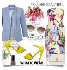 """""""Gorgeous spring!"""" by anchilly23 ❤ liked on Polyvore featuring Mary Katrantzou, Miss Selfridge, Charlotte Olympia, Gucci, Henri Bendel, Allstate Floral, Bobbi Brown Cosmetics and Balmain"""