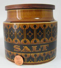 Salt Jar Hornsea Heirloom Mid Century With Wood Lid Clappison 1970s.
