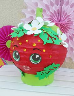 Excited to share the latest addition to my #etsy shop: Shopkins centerpiece strawberry kiss paper lantern with flowers and leaves and sparkling rhinestones super adorable http://etsy.me/2oJAce6 #papergoods #shopkinsbirthday #shopkinsparty #centerpiece #strawberrykiss #