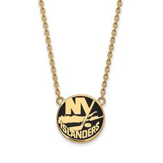 Sterling Silver with Gold Plating NHL LogoArt New York Islanders Enamel Pendant with Necklace
