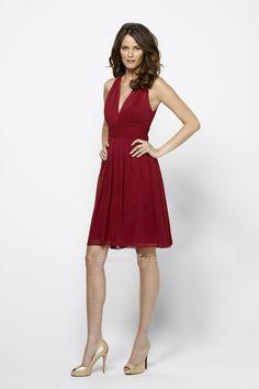 flirty burgundy chiffon shirred v-neck knee length bridesmaid dress     $ 340.00 off $126.96