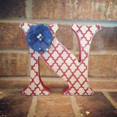 Red White and Blue Wood Letter-Free Standing by TheCrownedLily