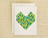 Geometric Love Card, Unique Wedding Card, Anniversary Card, Valentines Card, I Love You, Engagement Card, For Him, For Her
