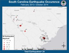 Since February 2013, there have been 24 low-magnitude earthquakes in South Carolina, including a 4.1 earthquake in Edgefield the night of February 14, 2014.  Use our interactive map and learn more here http://tinyurl.com/2014SCEQ