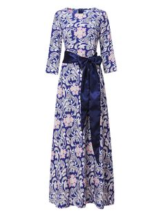 Sale 11% (34.69$) - Elegant Women Floral Printed 3/4 Sleeve Maxi Dress With Belt