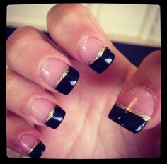 Black and gold nails, would want to do with navy