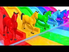 Learn Colors Baby Monkey Horse Water Slide Wheels On The Bus Song for Kid Children - YouTube