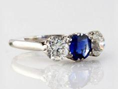 $3100.00 Platinum Diamond approx. 2 CTW Sapphire Estate Ring I-9503 #Platinum Diamond Sapphire Estate Ring #fashion ring #designer rings #westchestergold