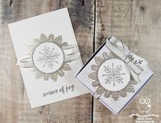 The Crafty Owl | Stepped Up Winter Wonder Embossed Snowflake Card and Coordinating Mini Pizza Gift Box