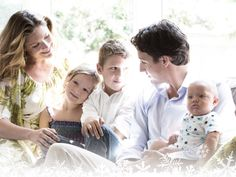 The Trudeau Family Sophie, Ella Grace, Xavier James and Baby Hadrian held by Justin.