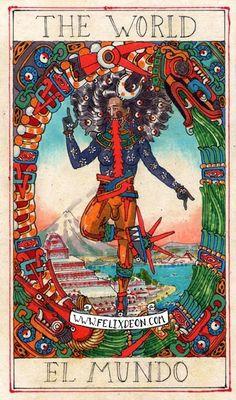 XXI. The World, Aztec Tarot Deck (by Felix d'Eon) - El Mundo