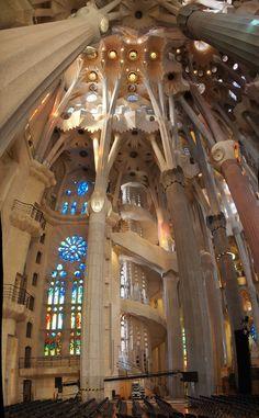 La Sagrada Familia by Antoni Gaudi. Gaudi Barcelona, Barcelona Tours, Amazing Architecture, Art And Architecture, Architecture Details, Antonio Gaudi, Moraira, Madrid, Cathedral Church
