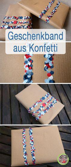 geschenkband aus konfetti diy selber machen schleifen und geschenke. Black Bedroom Furniture Sets. Home Design Ideas