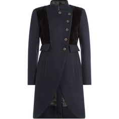 Marc by Marc Jacobs Tailored Wool Coat ($519) ❤ liked on Polyvore featuring outerwear, coats, blue, blue coat, slim fit wool coat, wool coat, slim fit coat and woolen coat