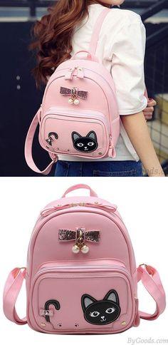 b34c222255ea Sweet Stereo Bowknot Pearl Pendant Girl s Kitten PU Fresh Cute Cat School  Backpack for big sale