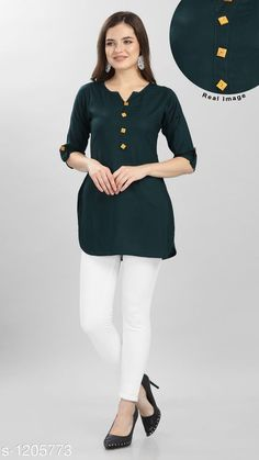 Kurtis & Kurtas Women's Solid Rayon Kurti  *Fabric* Rayon  *Sleeves* 3/4 Sleeves Are Included  *Size* S - 34 in, M - 36 in, L - 39 in, XL - 42 in  *Length* Up To 30 in To 31 in  *Type* Stitched  *Description* It Has 1 Piece Of Women's Short Kurti  *Pattern* Solid  *Sizes Available* S, M, L, XL *   Catalog Rating: ★4.2 (555)  Catalog Name: Women's Solid Rayon Short Kurtis CatalogID_151400 C74-SC1001 Code: 792-1205773-