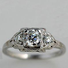 Old European Cut Diamond Art Deco Engagement Rings Square Engagement Rings, Deco Engagement Ring, Antique Engagement Rings, Antique Rings, Antique Art, Wedding Rings Vintage, Vintage Rings, Vintage Jewelry, Antique Jewellery
