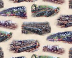 "Elizabeth/'s Studio All Aboard Trains Cream Cotton fabric by the panel 24/"" X 43/"""