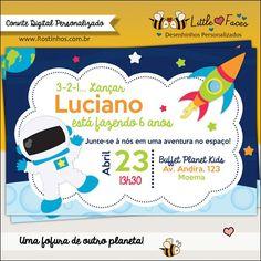 Convite Festa Tema Astronauta Digital. Uma fofura de outro planeta.