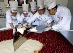 Mexican chefs cut the Guinness World Record biggest cheesecake in Mexico City, on January The biggest cheesecake of the world, with meters in diameter, 55 centimeters high and 2 tons of weight, was distributed among people Giant Sweets, Giant Food, Mexican Chef, Giant Dinosaur, Guinness World, Food Challenge, World's Biggest, World Records, Mexico City