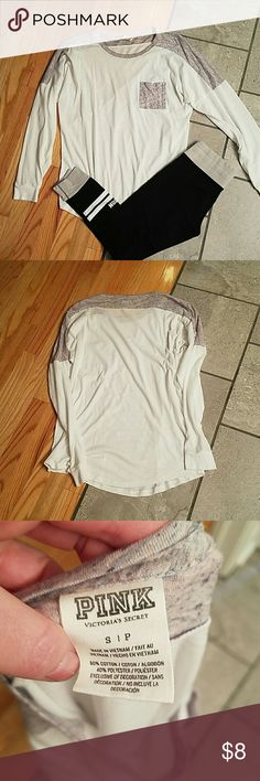 Pink top Good condition, some sign of wear, over sized, thin and lightweight PINK Victoria's Secret Tops Tees - Long Sleeve