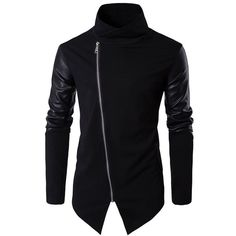Helisopus Men's Turtleneck Oblique Zipper Cotton Leather Long Sleeve... ($29) ❤ liked on Polyvore featuring men's fashion, men's clothing, men's outerwear, men's coats, mens overcoat, mens over coat, mens turtleneck and men's cotton sport coat