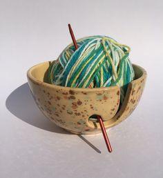 Knitting bowl Crocheting bowl Yarn Bowl Ceramic Tan by DabaDos