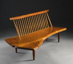 "GEORGE NAKASHIMA  ""CONOID"" BENCH / 1978 / American black walnut, East Indian rosewood and hickory"
