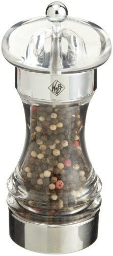 William Bounds Chrisma Pepper Mill by William Bounds. $28.21. 3 step adjustable ring for fine, medium and coarse settings for pepper. Height: 6-3/5-inch tall. Cleaning and Care: Wipe with damp cloth. Material: Acrylic. Interior ceramic and stainless components never wear out. In the world of spice and pepper mills, William Bounds products are in a class of their own. They add a touch of sophistication and elegance to your kitchen and/or dining room. And because you a...