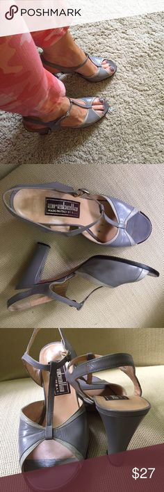 """70's Arabella Italy grey 2 tone t-strap heels 9 Amazing condition for shoes of this age. All leather. Euro size 40.5 but they fit like size 9. No dings or flaws that I can find. 3.5"""" heel. Vintage Shoes Heels"""