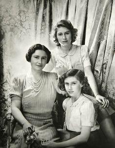 Queen Elizabeth II, the Queen Mother, and Princess Margaret