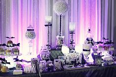 We have helped hundreds of customers plan their wedding shower and reception candy buffet. We have expert advice all the wedding candy and supplies you need to create the ultimate wedding candy bar… Purple Candy Buffet, Candy Buffet Tables, Candy Table, Elegant Candy Buffet, Buffet Ideas, Dessert Tables, Dessert Bars, Purple Party, Purple Wedding