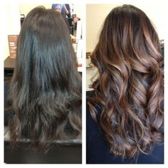 Balayage (painted-on) highlights. What a perfect way to perk up brunette hair. by Karen D.